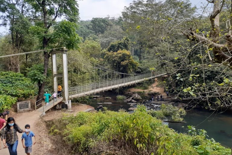 This hanging bridge at Karapara in Nelliyampathi Hills in Kerala symbolises the environment versus development discussions. The bridge brought access and development to the communities living on the other side. However, if the forests upstream are destroyed and the perennial water flow stops in the river, then the bridge would not be of much use to the community, which will have to move from the location. Photo by S. Gopikrishna Warrier/Mongabay.